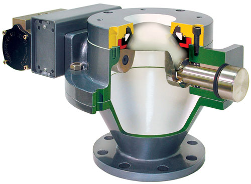 Cut away view of dome valve for pneumatic conveying systems
