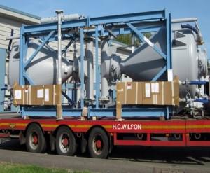 System loaded on transport vehicle