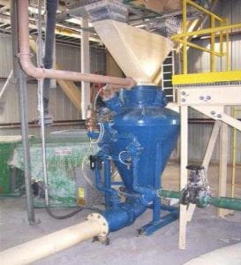 pneumatic conveying of ground rice hulls